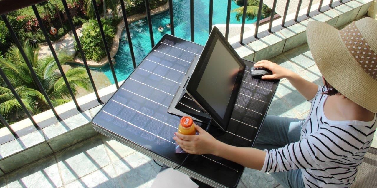 solar table laptop from above